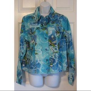 Paisley Denim Jacket Sequins Beads Lightweight XL
